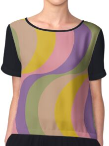 Large Seventies zigzag rainbow waves Chiffon Top