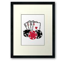 Poker cards chips Framed Print