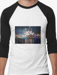 Ship at sea with fireworks Men's Baseball ¾ T-Shirt