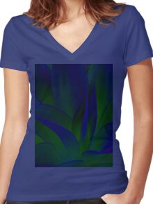 Succulent Abstract  in Blue and Green #215 Women's Fitted V-Neck T-Shirt