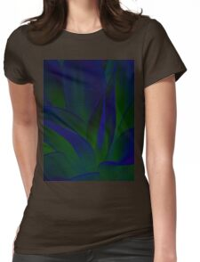 Succulent Abstract  in Blue and Green #215 Womens Fitted T-Shirt