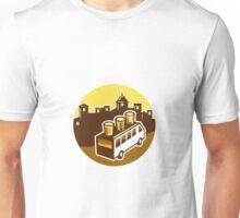Beer Flight Glass On Van Buildings Circle Retro Unisex T-Shirt