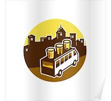 Beer Flight Glass On Van Buildings Circle Retro Poster