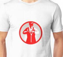 Organic Farmer Leaning Shovel Circle Retro Unisex T-Shirt
