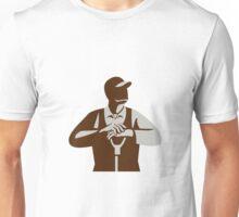 Organic Farmer Leaning Shovel Looking Up Retro Unisex T-Shirt