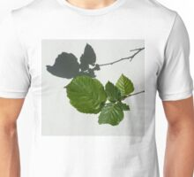 Sophisticated Shadows - Glossy Hazelnut Leaves on White Stucco - Horizontal View Right Down Unisex T-Shirt
