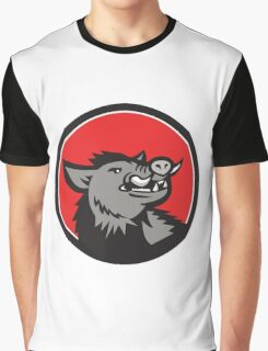 Wild Boar Head Angry Looking Up Circle Retro Graphic T-Shirt