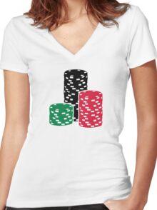 Poker Roulette chips gambling Women's Fitted V-Neck T-Shirt