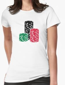 Poker Roulette chips gambling Womens Fitted T-Shirt