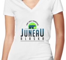 Juneau Alaska Women's Fitted V-Neck T-Shirt