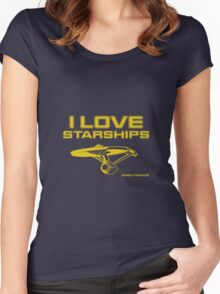 I love starships - TMP ENT Women's Fitted Scoop T-Shirt