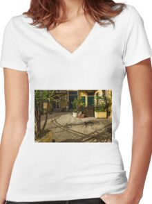 Cat Nap Women's Fitted V-Neck T-Shirt
