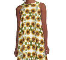 Impressionist Mirrored Sunflower A-Line Dress