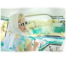 Blonde woman drive the car Poster