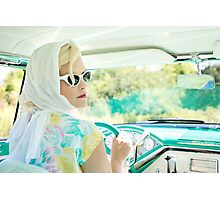 Blonde woman drive the car Photographic Print