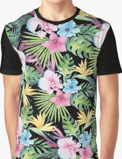 Tropical Vintage Floral on Black Graphic T-Shirt