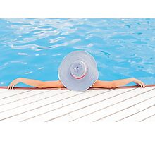 Relaxed woman in the pool Photographic Print