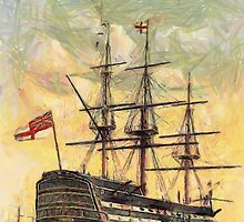 "A digital painting of  The ""Victory"" (Nelson's Flagship) Portsmouth, Hampshire, England 19th century by Dennis Melling"