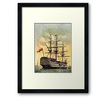 "A digital painting of  The ""Victory"" (Nelson's Flagship) Portsmouth, England Framed Print"
