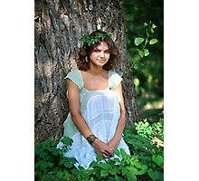 fantasy young woman in woods Photographic Print