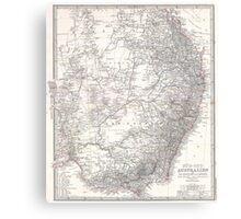 Vintage Map of Eastern Australia (1876) Canvas Print