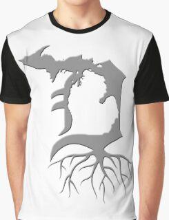 Detroit Michigan Roots - Grey Graphic T-Shirt