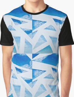 Blue Sky Breeze: Geometric Skyscape Graphic T-Shirt