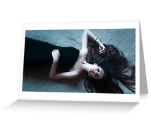 woman lying on the floor Greeting Card