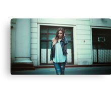 girl in leather jacket Canvas Print