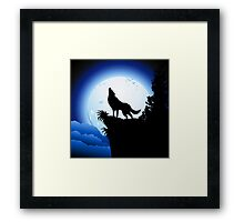 Wolf Howling at Blue Moon Framed Print