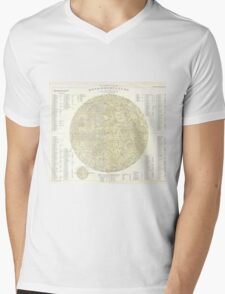 Vintage Map of The Moon (1880) Mens V-Neck T-Shirt