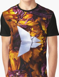 Origami Purple and Yellow Butterfly Graphic T-Shirt
