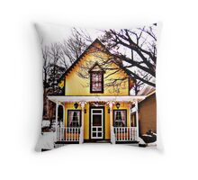Gingerbread Cottage In Winter Throw Pillow
