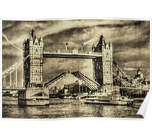 Tower Bridge London Vintage Poster