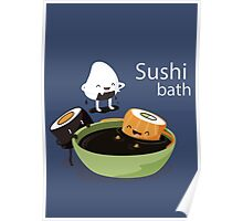Funny Sushi Bath Poster