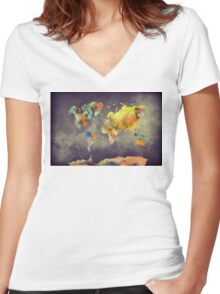 World map 2077 Women's Fitted V-Neck T-Shirt