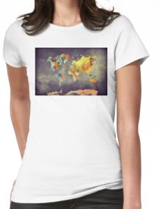 World map 2077 Womens Fitted T-Shirt