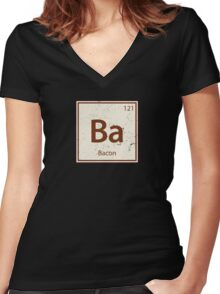 Vintage Bacon Periodic Table Element Women's Fitted V-Neck T-Shirt