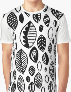 Hand drawn leaf pattern, nature inspired, handmade, drawing, painting, leaves, black and white Graphic T-Shirt