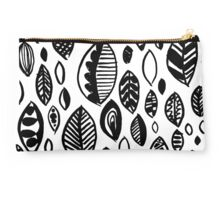 Hand drawn leaf pattern, nature inspired, handmade, drawing, painting, leaves, black and white Studio Pouch
