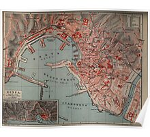 Vintage Map of Genoa Italy (1894) Poster