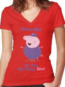 Grandpa (HBD) girl Women's Fitted V-Neck T-Shirt