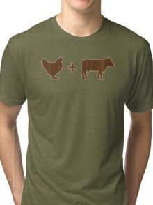 Vintage Brown Chicken Brown Cow Tri-blend T-Shirt