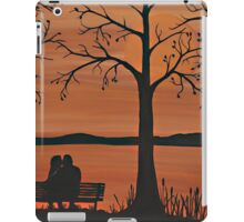 Couple sitting on a bench iPad Case/Skin