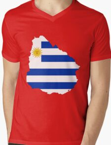Uruguay Flag Map Mens V-Neck T-Shirt