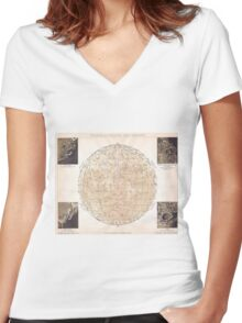 Vintage Map of The Moon (1898) Women's Fitted V-Neck T-Shirt
