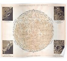 Vintage Map of The Moon (1898) Poster
