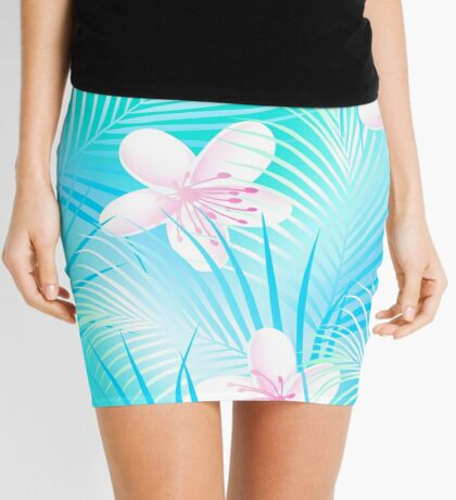 Tropical frangipani with blue palms Mini Skirt