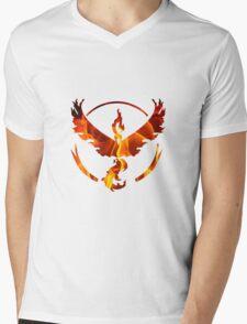 Pokemon Team Valor Flame Logo Mens V-Neck T-Shirt