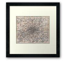 Vintage Map of London England (1900) 2 Framed Print